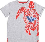 Turtle Printed Cotton Jersey T Shirt