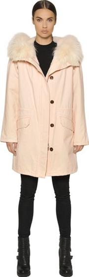 Cotton Canvas Parka W Lapin Fur Lining