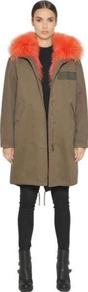 Cotton Canvas Parka With Fox Fur Lining