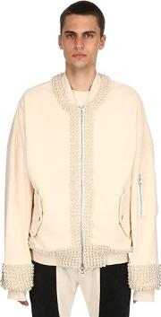Embellished Heavy Cotton Bomber Jacket