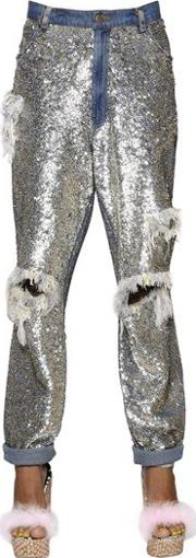 Sequined & Fringed Cotton Pants