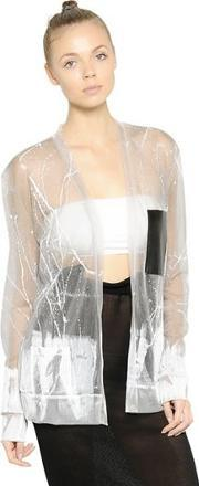 Painted Sheer Techno Knit Cardigan