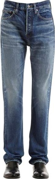 21cm Stone Washed Cotton Denim Jeans