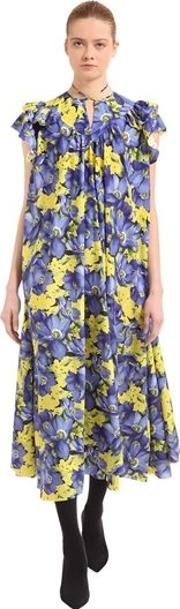 Flou Purple Poppy Silk Jacquard Dress