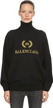Logo Embroidered Wool Blend Sweater