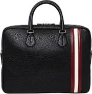 Pebbled Leather Briefcase W Stripes