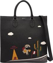 Space Printed Leather Tote Bag