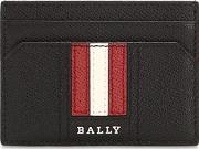 Striped Saffiano Leather Card Holder