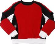 Color Block Biker Cotton Sweatshirt