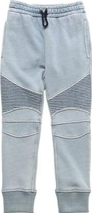Denim Effect Cotton Biker Sweatpants