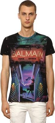 Destroyed Printed Cotton Jersey T Shirt