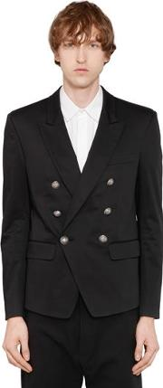 Double Breasted Cotton Blend Jacket