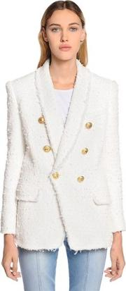 Double Breasted Fringed Tweed Blazer