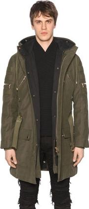 Hooded Zip Canvas Parka Coat W Lining