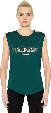 Laminated Logo Jersey Sleeveless Top
