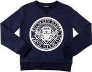 Logo Crest Flocked Cotton Sweatshirt