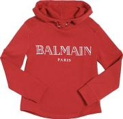 Logo Printed Hooded Cotton Sweatshirt