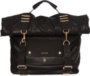 Roll Top Convertible Leather Backpack