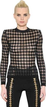 Sheer Diamond Jacquard Knit Sweater