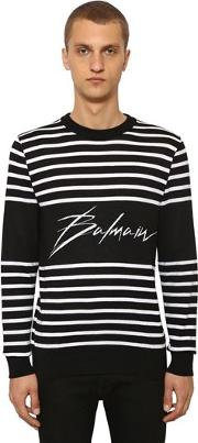 Striped Logo Cotton Knit Sweater