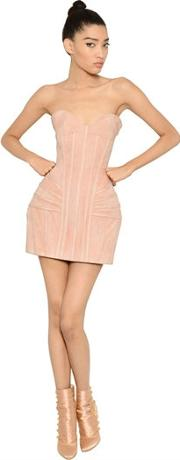 Suede Bustier Dress With Structured Hips