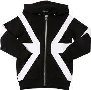 Union Jack Zip Cotton Sweatshirt Hoodie