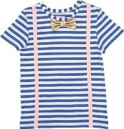 Striped Printed Cotton Jersey T Shirt
