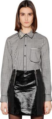 Embellished Cotton Gingham Shirt