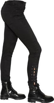 Skinny Lace Up Stretch Cotton Pants
