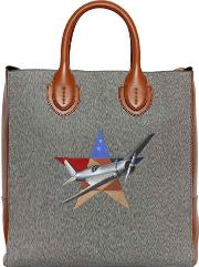 Cotton Blend & Leather Tote Bag