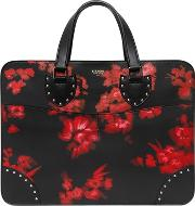 Hand Painted Flowers Leather Briefcase