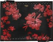 Hand Painted Flowers Leather Pouch
