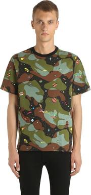 Space Camo Printed Cotton Jersey T Shrit