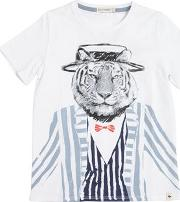 Tiger Printed Cotton Jersey T Shirt