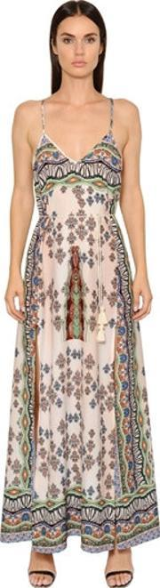 Printed Cotton Voile Long Dress