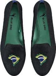Brazilian Flag Embroidered Linen Loafers