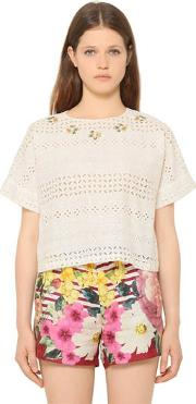 Embroidered Cotton Eyelet Top