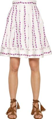 Floral Printed Stretch Cotton Skirt