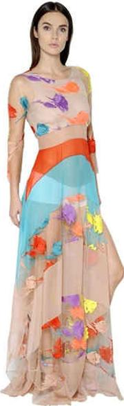 Flower Embroidered Tulle Dress