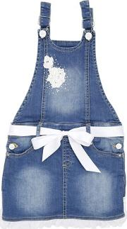 Denim Overalls With Ruffle Detail