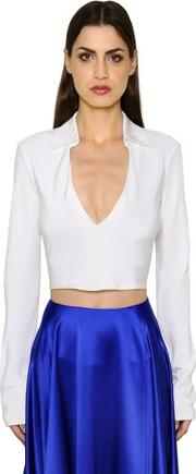 Cropped V Neck Silk Shirt