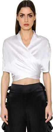 Silk Charmeuse Wrap Top With Tie Back