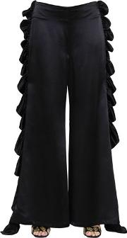 Silk Crepe Pants With Charmeuse Ruffles