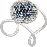 Button Blue Pave Ring