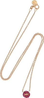 Mini Button Pink Pave Necklace