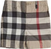 Check Cotton Gabardine Shorts