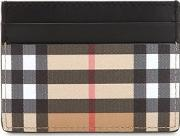 Check Cotton & Leather Card Holder