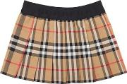 Check Cotton Pleated Skirt