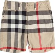 Check Cotton Twill Shorts