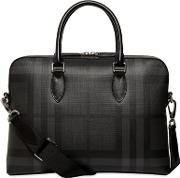 Check Faux Leather Briefcase